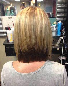 Ombre Color Inverted Bob Haircut