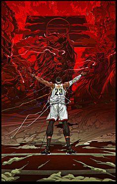 ARTIST: Begin Again aka Wujianwu (China) |  via: #Yellowmenace |  ● See all 48+ NBA Basketball Artworks @ http://blog.yellowmenace.net/2017/04/nba-basketball-art-collection.html | #NBA #basketball #fanart #poster #art #LebronJames