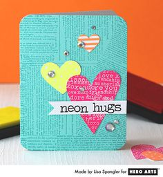 Create a bright and cheerful card with neon inks. Card by Lisa Spangler #HeroArts