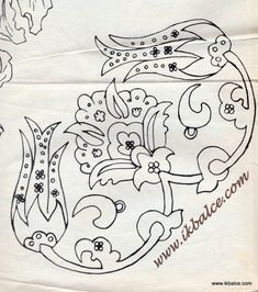 Embroidery Pattern from Turkish Folk Art. Jacobean Embroidery, Blackwork Embroidery, Floral Embroidery Patterns, Couture Embroidery, Embroidery Works, Folk Embroidery, Applique Patterns, Beaded Embroidery, Embroidery Designs