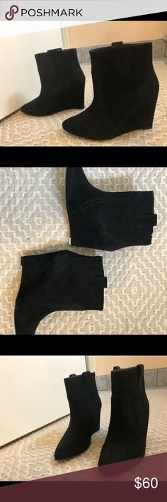 Wedge booties Like new, worn once. Rebecca Minkoff Shoes Ankle Boots & Booties