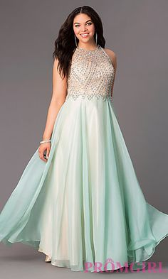 Floor Length Sleeveless Plus Dress with Illusion Bodice by Dave and Johnny at PromGirl.com
