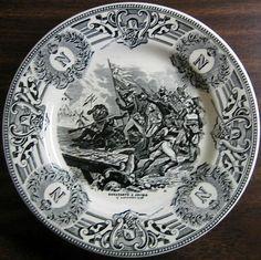 Black on Cream. Made in Belgium. I have more in this neat series. Porcelain Ceramics, China Porcelain, Black Cream, Grey And White, Italian Pottery, Decorative Plates, Flag, Monogram, Belgium