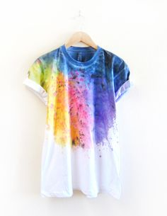 """The Original """"Splash Dyed"""" Hand PAINTED Relaxed Fit Flowy Scoop Neck Tee in…"""
