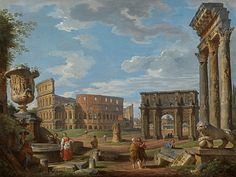 Giovanni Paolo Panini - Capriccio of Roman monuments with the Colosseum and Arch of Constantine