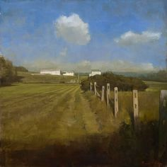 Randal Exon - Fence Row in Chester County Oil Painting 16x16in 2008