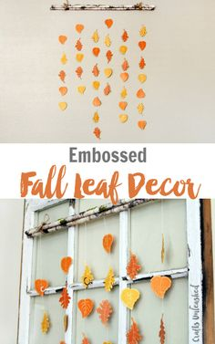 Bring the outdoors in with a fun DIY fall home decor piece using some embossed cardstock leaves and some faux branches!