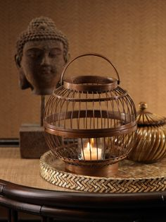 Round bamboo candle lanterns with top handle. Product: LanternConstruction Material: BambooColor: BrownAccommodates: 1 Candle - not includedDimensions: H x Diameter Bamboo Shades, Style Lounge, Home Design Decor, Home Decor, Modern Tropical, Asian Design, Candle Lanterns, Interior Accessories, Interior Lighting