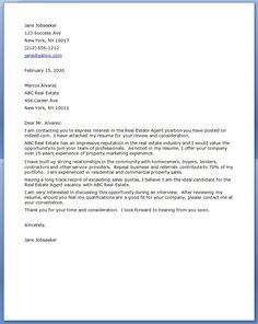 real estate cover letter examples - Cover Letter For Real Estate Job