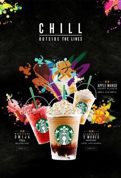 Starbucks Coffee Korea Food Graphic Design, Food Poster Design, Menu Design, Food Design, Bubble Drink, Bubble Milk Tea, Cafe Food, Food Menu, Menu Starbucks