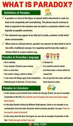 Paradox: Definition and Examples of Paradox in Speech and Literature - 7 E S L - Learn English - Goodsstr Essay Writing Skills, English Writing Skills, Book Writing Tips, Writing Words, Teaching Writing, English Lessons, French Lessons, Spanish Lessons, Teaching English Grammar