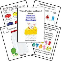 Mouse Paint, Mouse Count, Mouse Shapes Activities and FREE Printables