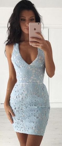 #summer #musthave #outfits |  Baby Blue Lace Dress