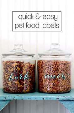 Make your own gorgeous pet food labels to upgrade big box jars into give your beloved four legged friends the perfect place for their food.