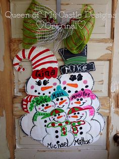 Personalized Snowman Christmas Winter Door by queensofcastles, $50.00
