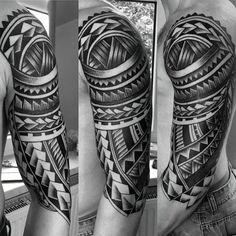 Cool Polynesian Guys Half Sleeve Tribal Tattoo Ideas
