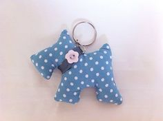 Teal Scottie Dog Keyring by SimplyStitchedGifts on Etsy, £4.40