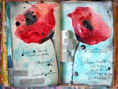 Poppies art journal spread by Donna Downey ~ love it!