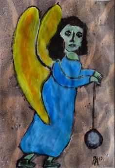 Engel mit Jojo, eine Arbeit von Peter Ammon Outsider Art, The Outsiders, Painting, Fictional Characters, Angel, Random Stuff, Painting Art, Paintings, Fantasy Characters