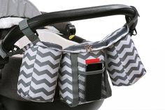 Buggy Organiser in Grey and White Chevron. A perfect alternative to a regular diaper bag!!!