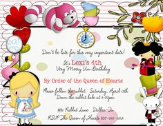 Alice In Wonderland Birthday Invitation QTY10. $10.00, via Etsy.
