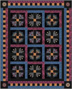 """FORTUNE quilt kit: This spectacular quilt uses Paula Nadelstern's new Kismet fabric collection with its rich alchemy textures and kaleidoscope prints. Kit includes fabric from Benartex's Kismet collection for quilt top and binding. Instructions are included. Quilt By: Linda Leatherisch & Stephanie Sheridan of Stitch Together Studio Quilt Size: 58"""" x 72"""""""