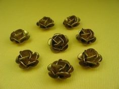 4 Large Vintage Brass Rose Beads
