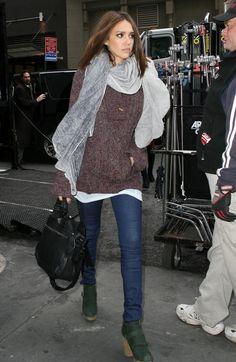 big scarf, sweater, big chunky green boots - haute!