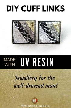 Make a set of resin cuff links that are the perfect finishing touch to any stylish man's suit. Put your own spin on the cuff links by including small items in the layers of resin to reflect the personality of your special man. This is a fairly quick project to make because it uses UV resin. #MillLaneStudio #mensjewelry #diymensaccessories #cufflinkideas #giftsformen #UVresinproject Resin Jewelry Tutorial, Resin Tutorial, Resin Uses, Uv Resin, Novelty Gifts For Men, How To Make Resin, Boot Jewelry, Beer Bottle Caps, Kawaii Jewelry