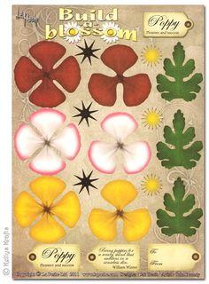 Decoupage A4 Sheet - Build A Blossom, Poppy - £0.49 : Card Making + Scrapbooking Craft Supplies