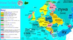 "maps-oe: "" How To Say ""moon"" In Europe, With Etymology Side note; some of these languages, but not all, have the same word for 'moon' as they do for 'month' "" European Map, European Languages, Ukrainian Art, Grammar And Vocabulary, Fresh Memes, Spanish Lessons, English Grammar, Geography, Alice In Wonderland"