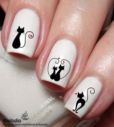 40 Lovely Valentines Day Nail Art Designs 2019 Nail art designs, post guide 1169528400 for one delightfully wonderful nail design. Cat Nail Art, Animal Nail Art, Cat Nails, Cat Nail Designs, Nail Art Designs Videos, Purple Nail, Love Nails, Pretty Nails, Valentine Nail Art