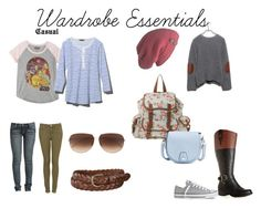 """""""Wardrobe Essentials - Casual"""" by shopgirl92 ❤ liked on Polyvore featuring Wet Seal, ASOS, rag & bone, Avenue, Converse, Laundromat, Hybrid, L.L.Bean, Uniqlo and Dita"""
