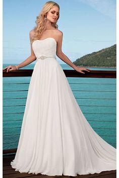 Prinzessin Chiffon Kapelle-Schleppe schlichtes trägerloses Brautkleid