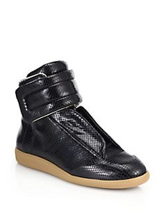 Maison Martin Margiela - Snake-Embossed Leather Future High-Top Sneakers