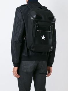 GIVENCHY RIDER STAR  BLACK  LEATHER & CANVAS BACKPACK  BJ05004-568-001 #GIVENCHYRIDERSTAR #Backpack Fendi, Gucci, Designer Backpacks, Canvas Backpack, Herschel Heritage Backpack, Winter Collection, Ysl, Givenchy, Versace