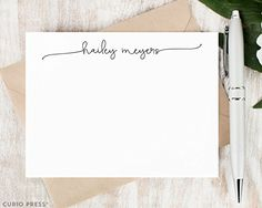 SWASH SCRIPT - Personalized Flat Stationery Set - Script Calligraphy Pretty Simple Note Cards, Stationary and Envelopes for Women Girls or Family, Gift Set -- Click image for more details.
