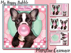 3 page mini kit including 7x7 topper, decoupage, blank insert, 2 gift tags, and 7 greeting tiles: Happy Birthday, You're my Happy Bubble, Especially for You, Thinking of you, On your special day, Thank You and one blank. The kit features a cute french bulldog puppy making bubbles with pink chewing gum.