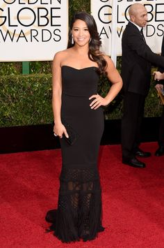 """Jan. 11, 2015 - Gina Rodriguez in Badgley Mischka won her first Golden Globe for Best Actress in a TV Series, Musical or Comedy for """"Jane the Virgin"""" – Vogue"""