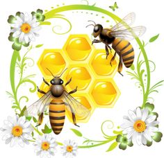 Clipart Honey Bees Over Honeycombs In A Green Daisy Frame - Royalty Free Vector Illustration by merlinul Honeycomb Tattoo, Bee Honeycomb, Honey Bee Images, Bee Rocks, Honey Bee Tattoo, Honey Logo, Free Vector Illustration, Vector Art, Flower Tattoo Arm
