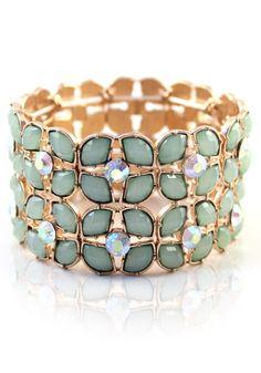 $27.53 Fashion Green Rhinestone Flower Elastic Bangle Bracelet
