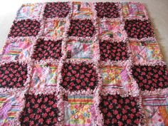 LadyBugs and Flowers Rag Blanket Baby Girl Shower Gift Crib Rag Blanket Stroller Dragonfly Rag Blanket   Rag Quilt Blanket 35x35 by farmernurse on Etsy