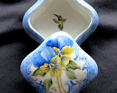 Signed Hand Painted Porcelain Ring Trinket Jewelry Gift Box Pansy with Hummingbird Design - Can be personalized