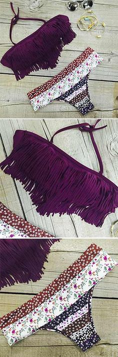 Swing your body in the ocean of lavender. Lavender Tassel Halter Bikini-ONLY $18.99 just can make you cool and chic. Pick it up at CUPSHE.COM !