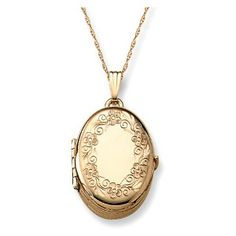 14k Yellow Gold Engraved Oval 4-Picture Locket, 20-inch. So she can keep her dearest picture near her heart.