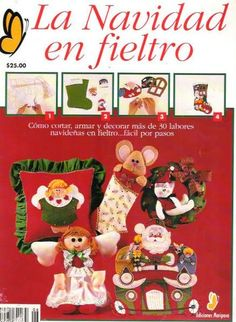 La navidad en fieltro Book Crafts, Hobbies And Crafts, Felt Crafts, Craft Books, Christmas Time, Christmas Crafts, Xmas, Christmas Ornaments, Christmas Stuff