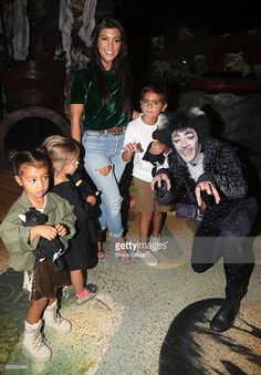 North West, Penelope Disick, Kourtney Kardashian, Mason Disick and 'So You Think You Dance' Season 11 Winner Ricky Ubeda as 'Mr.Mistoffelees' visit 'Cats' on Broadway at The Neil Simon Theatre on September 11, 2016 in New York City.