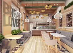 Ceiling detail / flooring / seating - panaderia