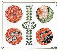 Alte original Jugendstil Ornamente, Floral, Wellenformen, Blüten, Knospen, Girlanden