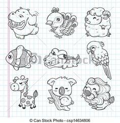 set of doodle animal icons - csp14634806